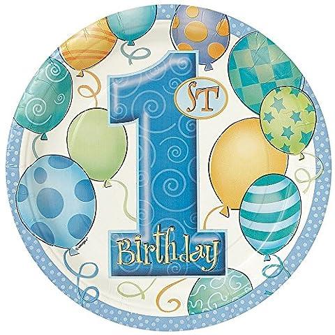 Unique Party - 23945 - Paquet de 8 Assiettes en Carton - 1er Anniversaire Ballons (Compleanno Speciale Piastra)