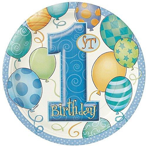Unique Party 23945 - Piatti per Festa Palloncini Blu Primo Compleanno, Confezione da (Compleanno Speciale Piastra)