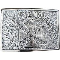 Metallic kilt belt buckle for Men. IN HOC SIGNO VINCES Cross work belt buckle. Available in Chrome Finish Color.