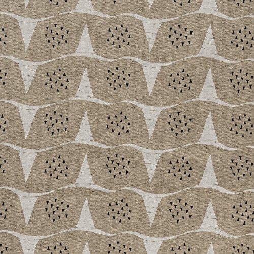 MIRABLAU DESIGN Stoffverkauf Baumwolle Canvas bedruckt mit grafischen Wellen in weiß kleinen schwarzen Dreiecken auf beigefarbenem Grund (4-232M), 0,5m