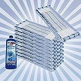 10x WISCHMOP MIKROFASER ERSATZMOP BODENWISCHER EXTRA FÜR LAMINAT 40CM BLUE (1L LAMINAT GLANZREINIGER GRATIS)