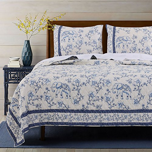 Barefoot Bungalow Saffi blau Quilt Set, 3-teilig, - Twin-size-matratze-abdeckung