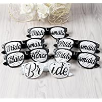 """AerWo 6 pares de gafas de sol personalizadas para la boda Despedidas de soltera conjunto con 1 """"Mucama de honor"""" + 1 """"Novia"""" + 4 """"Bridesmaid"""" Apoyos de la cabina de fotos para el equipo nupcial"""