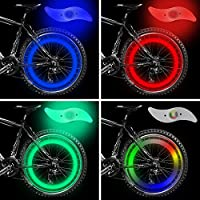 Nasharia Bike Spoke Light, 4pcs Bike Wheel Lights Spoke Decoration Waterproof, Ultimate Safety Bike Wheel Light with 3 LED Flash Modes Neon Lamp Included (Blue/Green/Red/Multicolor)