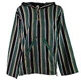 Guru-Shop Goa Kapuzenshirt, Gestreifter Baja Hoody, Herren, Tannengrün, Baumwolle, Size:L, Sweatshirts & Hoodies Alternative Bekleidung