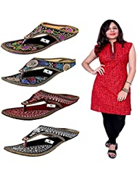 Thari Choice Woman 4 Pair Sandal With One Sleeve Less Cotton Stich Kurti Combo Pack