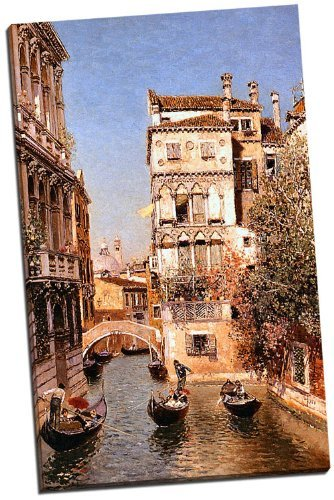 canvas-reproduction-print-a-picture-of-along-the-canal-venice-martin-rico-y-ortega-wrapped-around-a-