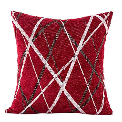 Xmiral Kissenbezüge Home Decor Kopfkissenbezug Plüsch-gestreifte Dekokissen für Dekokissen Kissenhüllen(Rot) -