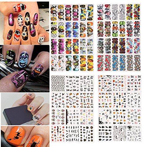 4 Typen Halloween Nailsticker Nail Art Maniküre DIY Knochen Nagel Aufkleber Dekoration (Design Herausforderung Kostüm)