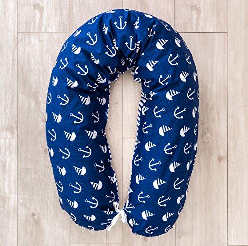 LOOLAY Stillkissen XXL EPS Styropor-Füllung Lagerungskissen Seitenschläferkissen ink.Bezug 170cm MUSTER: Anker marineblau/ Streifenmuster marineblau