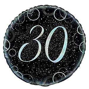 Unique Party Globo foil de 30 cumpleaños Color plateado metálico brillante 45 cm 55821