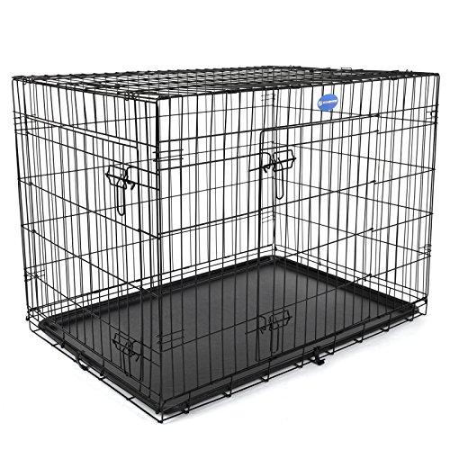 songmics-2-portes-cage-pour-chien-pliable-et-transportable-avec-poignees-et-plateau-noir-106-x-70-x-