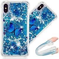 HMTECH Huawei P20 Lite Hülle Bling Glitzer Blaue Schmetterlings Blumen Treibsand Fließende Durchsichtige Weiche Silikon Schutzhülle Bumper Etui für Huawei P20 Lite,Liquid:Blue Butterfly