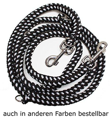 Geflochtene Hundeleine, Multileine, 4-fach verstellbar, 2,80 m lang, rund, Durchmesser 15mm, für größere und große Hunde, MADE IN GERMANY, schwarz-braun-weiß