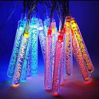 M&T Tech Guirlande lumineuse à énergie solaire avec 20 LED stalactites Pour extérieur/jardin/patio/sapin de Noël/fête et mariage Multicolore
