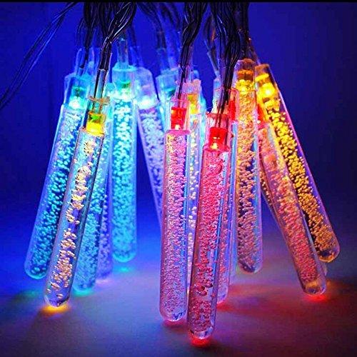 M&t tech - ghirlanda luminosa per esterni con 20 ghiaccioli, luci a led multicolore, a energia solare, adatta per giardino, cortile, albero di natale, feste e matrimoni