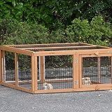 Animalhouseshop.de Kaninchen-Freilaufgehege Multirun Redbrown mit Nagerschutz 109x116x48cm