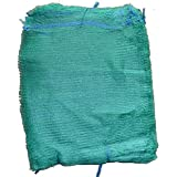 100Sacs Filet vert 50cm x 80cm 30kg Raschel Couvre-lit avec cordon de serrage en maille Sacs netbags légumes Bois d'allumage Poignée en bois