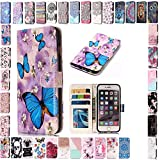 KM-Panda Housse Coque Apple iPhone 5 5S Se Fleur de Papillon Cuir PU Wallet Cover TPU...