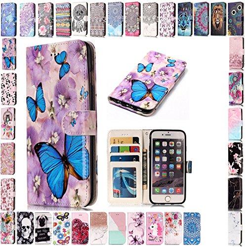 KM-Panda Kompatibel für Apple iPhone 7 8 Leder Tasche Klapphülle Schutzhülle Handytasche Ledertasche Handyhülle Lederhülle Flip Case hülle mit Kartenfächer - Schmetterling Blume - Apple Iphone Schwarz Holster