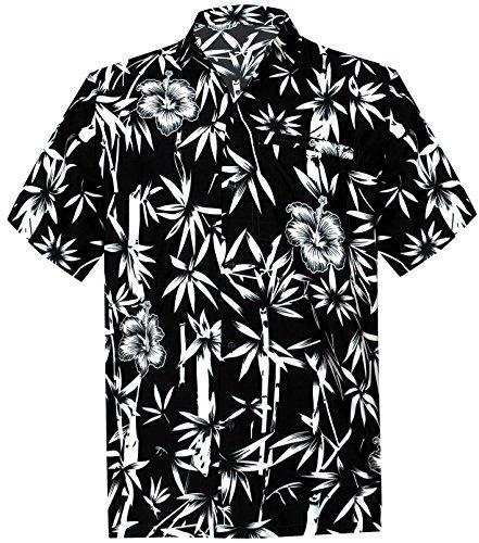 LA LEELA männer Hawaiihemd Kurzarm Button Down Kragen Fronttasche Beach Strand Hemd Manner Urlaub Casual Herren Aloha schwarz_447 7XL Likre 1890