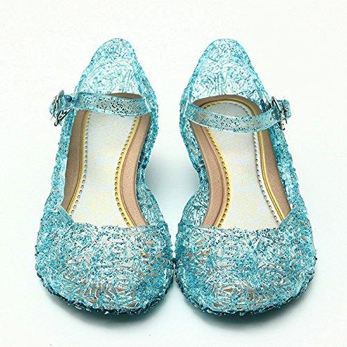 Zapatos para disfraz de princesa Elsa, color azul, talla 33 (talla del fabricante 35)