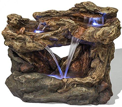 Ambienté Baumstamm-Brunnen Montana Falls mit LED-Beleuchtung