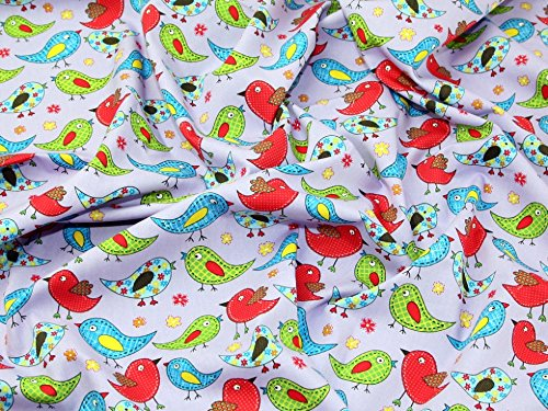 Funky Birds Print Baumwolle Popeline Stoff Lila–Meterware + Frei Minerva Crafts Craft Guide (Popeline-print-rock)