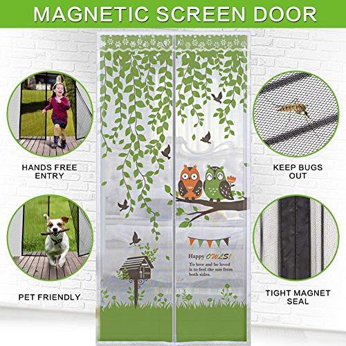 TINE Eulen Fliegengitter Magnetvorhang Magnetischer TüRvorhang Lass Die Luft Zirkulieren Keine Moskitos Oder Insekten Feines Netz Mit Top-to-Bottom-Siegel FüR Bug-Proof Vorhang,W120*H210CM -