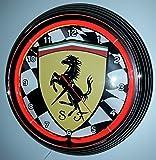NEON CLOCK NEONUHR FERRARI RACING FLAG RED NEON ROT-ERHÄLTLICH AUCH MIT ANDEREN NEON FARBEN! SIEHE BILDER!