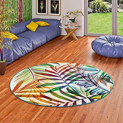 Pergamon Designer Teppich Faro Tropical Bunte Zweige Rund in 3 Größen - Blätter Teppich