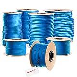 PP Seil Polypropylen Seile geflochten 100m 5mm BLAU -- Universal Seil PP Schnüre Outdoor Seil Springseil Polypropylenseile Schnur Flechtleine Sprungseil