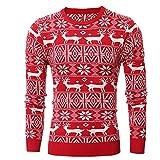 VRTUR Herren' Herbst Winter Weihnachten Sweatshirt DruckenN Stricken Strickjacke Weihnachten Lange Ärmel Bluse Oberteile Kapuzenpullover Pullover(L,Rot)