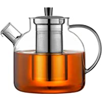 Ehugos Glass Teapot, 1500ml Stovetop Safe Tea Kettle with Infuser Borosilicate Glass Water Jug Clear Tea pot Maker for…