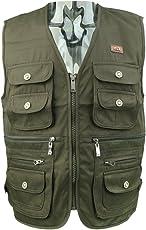 MagiDeal Men's Cotton Breathable Journalist Photographer Fishing Vest Waistcoat Jacket Coat