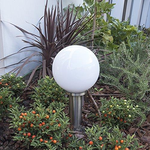 QAZQA Modern Außenleuchte/Wegeleuchte/Gartenlampe/Gartenleuchte/Standleuchte Sfera 50cm Edelstahl/nickel matt/Außenbeleuchtung Kunststoff/Edelstahl Rund/Kugel/Kugelförmig LED geeignet