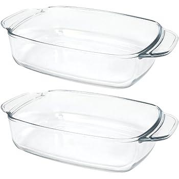 COM-FOUR ®–Teglia da forno in vetro borosilicato per forno a microonde e forno, forno a forma quadrata in vetro trasparente 02 Stück