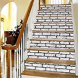 Frolahouse 6pcs Wandtattoos Treppenhaus Weiß Brick Muster Diy Refurbished Treppenaufkleber - Schlafzimmer Wandbilder Selbstklebende Badezimmer Wasserdichte Wand Vinyl Aufkleber Aufkleber