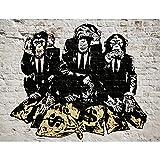 Fototapete Banksy Streetart Affen Geldsäcke Vlies Wand Tapete Wohnzimmer Schlafzimmer Büro Flur Dekoration Wandbilder XXL Moderne Wanddeko - 100% MADE IN GERMANY - Runa Tapeten 9150010a