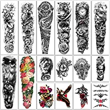 Yazhiji 16 Sheets Extra Large Temporary Tattoos 8 Sheets Full Arm Fake Tattoos and 8 Sheets Half Arm Tattoo Stickers for Men and Women