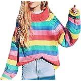 DressUWomen Rayas de cuello alto, más relajado - tamaño suéter ocasional para Mujers