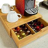 Bakaji Kapselspender Kapselständer Kapselhalter Behälter Kapseln Kapsel Kaffeepads Support Dolce Gusto Nespresso Lavazza Tassimo Tee Organiser mit Schublade aus Bambusholz 31 x 30,5 x 9,5 cm