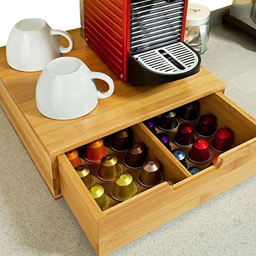 Bakaji portacapsule contenitore cassetto porta cialde capsule nescpresso dolcegusto modomio caffe lavazza bustine tè zucchero realizzato in legno di bambù bamboo 31 x 30,5 x 9,5 cm