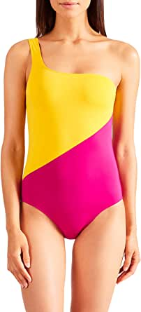 Aubade PR67-A Women's Beaute Sublime Golden Yellow Non-Padded Non-Wired Costume One Piece Assymetrical Swimsuit 36