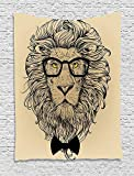 TRUIOKO Indie Tapestry, Lion Character Portrait with Glasses And Bowtie Hipster Smart Cool Dandy, Wall Hanging for Bedroom Living Room Dorm Wall Tapestry Decor,80' X 60' Inches, Sand Brown Black YEL