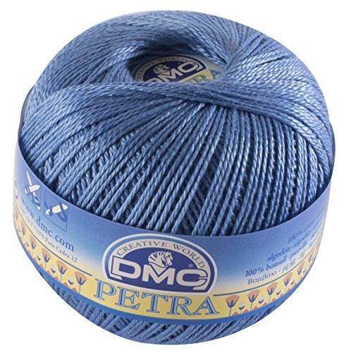 Dmc, gomitolo di filo petra, 100% cotone, colore blu, misura 5