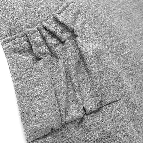 iBaste Damen Sweatshirt Pullover Langarm Blusen Top Rollkragen T-shirt Wasserfallausschnitt Hellgrau