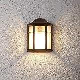 Wandleuchte Außen | Wand-Laterne rustikaler Landhaus-Stil | antike Außenleuchte 25,2cm Höhe | Terrassenbeleuchtung klassische Form | Außenwandleuchte braun E27 | Wandlampe IP23 inkl. Leuchtmittel
