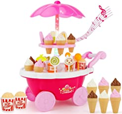 Cosway Baby Kids Learning Toys Pretend Play Set Cake Ice Cream Food Carts Sweet Candy Trolley with Music and Light