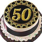 """Cannellio Cakes Kuchenaufsatz """"50"""", zum 50. Geburtstag oder Jahrestag, essbar, vorgeschnitten, aus Zuckerguss, 19,1cm, rund,Schwarz und gold, Design mit verziertem Rand"""